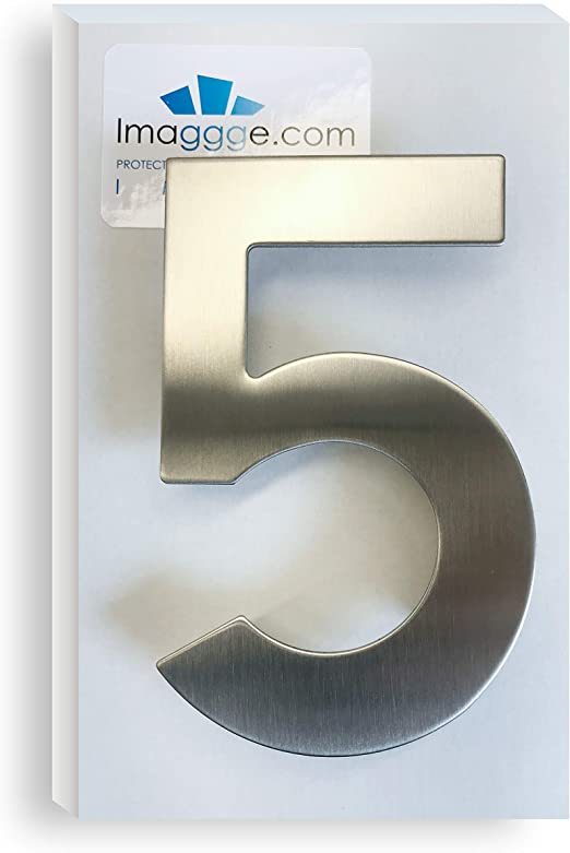 Brushed House Number 1 One-15.3cm 6in-Made of Solid 304 Stainless Steel ,Floating Appearance,Easy to Install