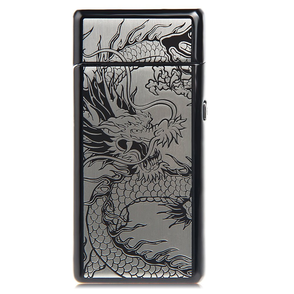 Kivors USB Rechargeable Windproof Flameless Electronic Double Pulse Arc Cigarette Lighter Belief Chinese Dragon Lighter by Kivors (Image #3)