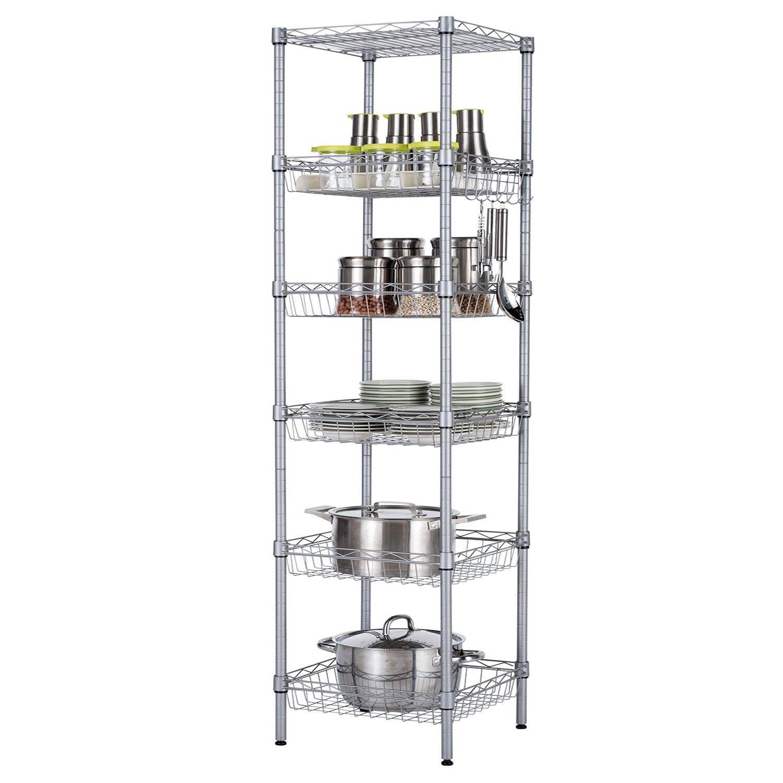 "SINGAYE Storage Shelves, 6-Tier Wire Storage Unit with Baskets Shelving Adjustable Storage Shelf, 13.4"" D x 13.4"" W x 63"" H,Silver"