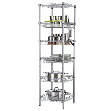 SINGAYE Storage Shelves, 6 Tier Wire Storage Unit With Baskets Shelving  Adjustable Storage Shelf