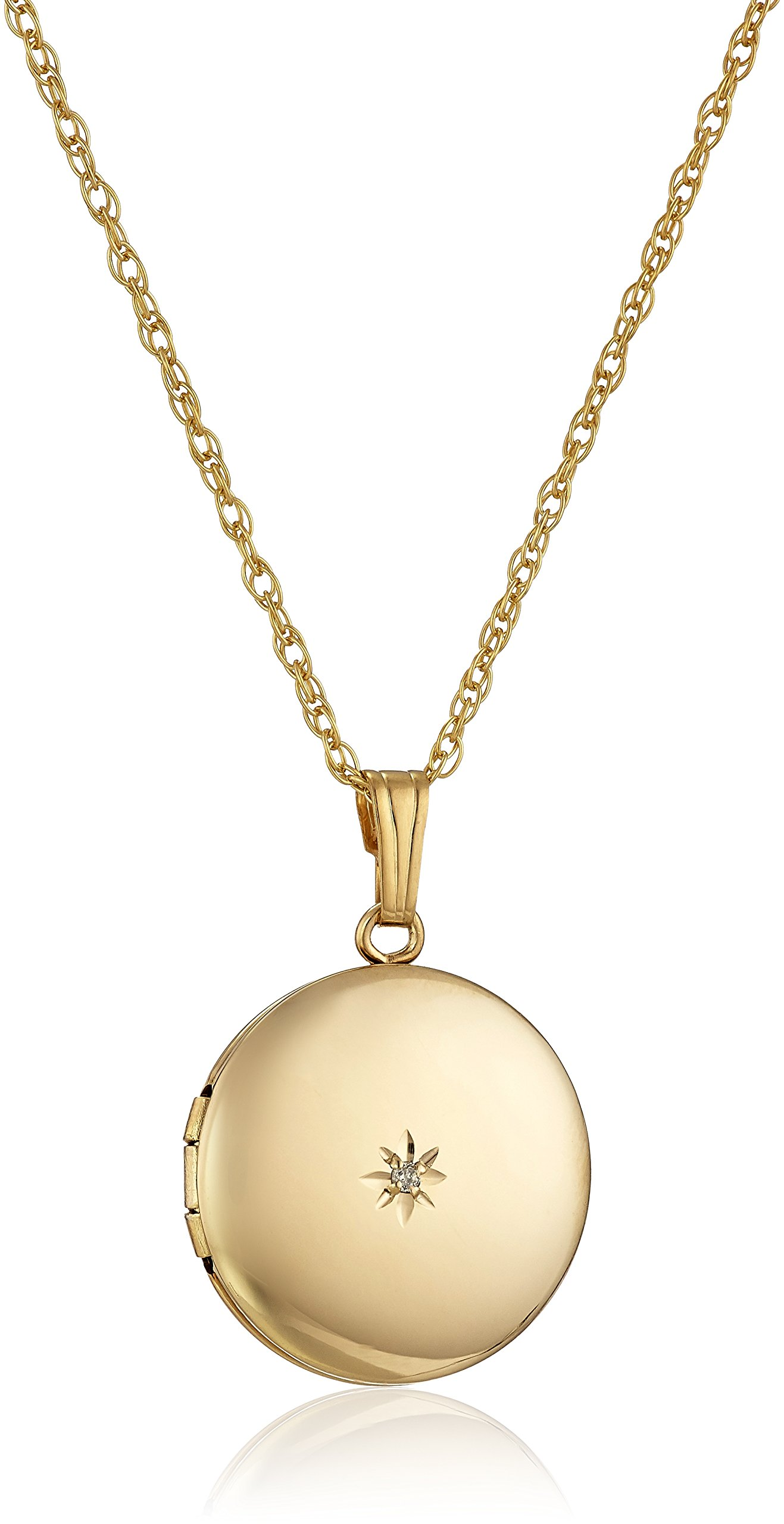 Yellow 14k Gold-Filled Polished Round with Genuine Diamond Locket Necklace, 18''