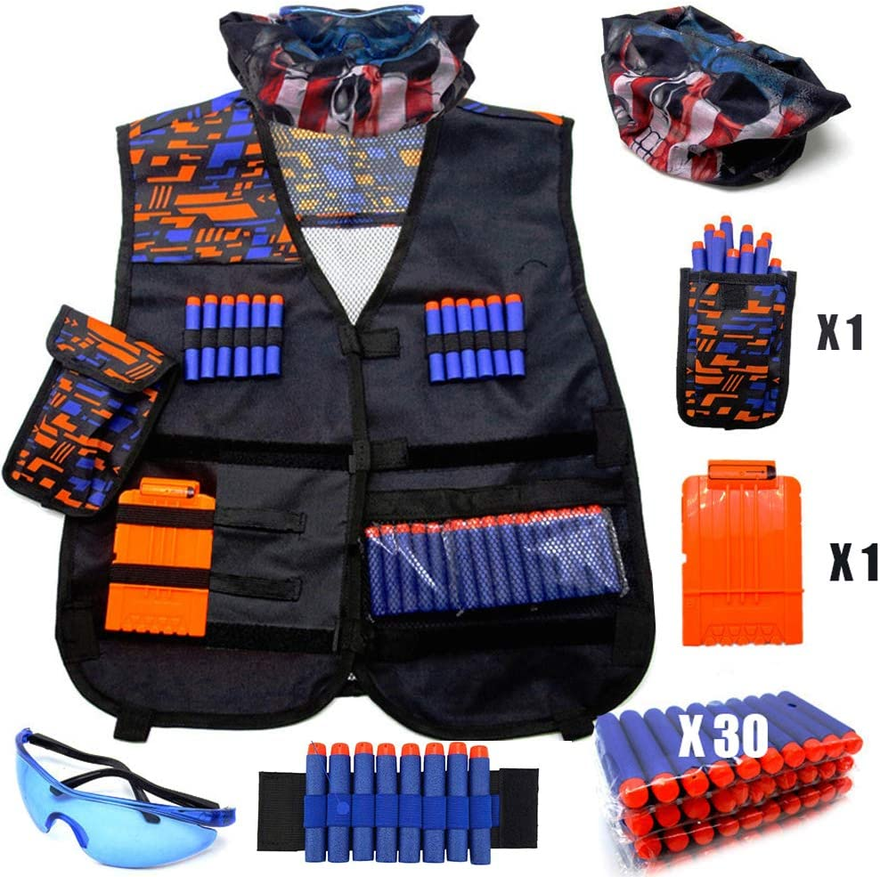 Chaleco Táctico Niños,Kit de Tactical Chaleco para Pistolas Nerf N-Strike Elite + 30 Dardos + 1 Pañuelos Bandanas + 1 Protección Gafas + 1 Clips de liberación rápida + 1 Pulsera + 1 Bolsa de Dardos
