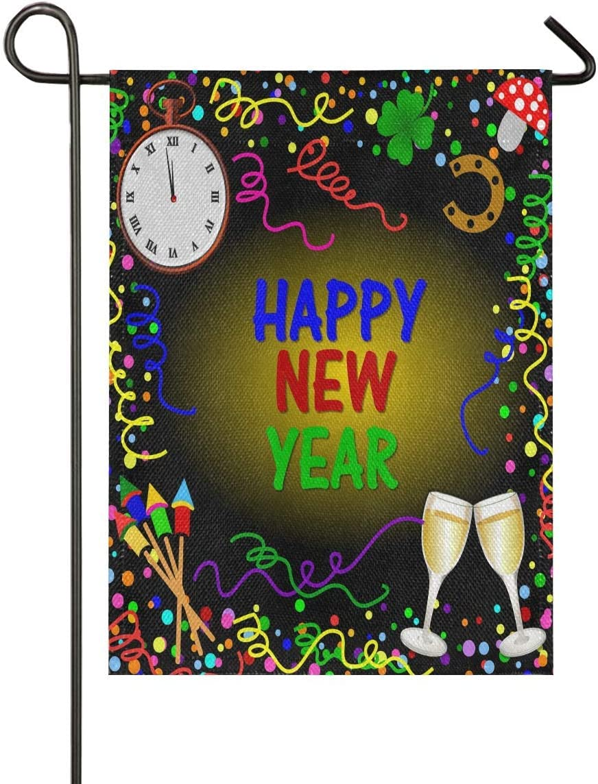 Garden Flag 12 x 18 Double Sided Happy New Year Burlap Bell Toast Firework Decorative House Yard Flags for Outside Outdoor Welcome Home Decor Banner Stand Size 12x18 inches