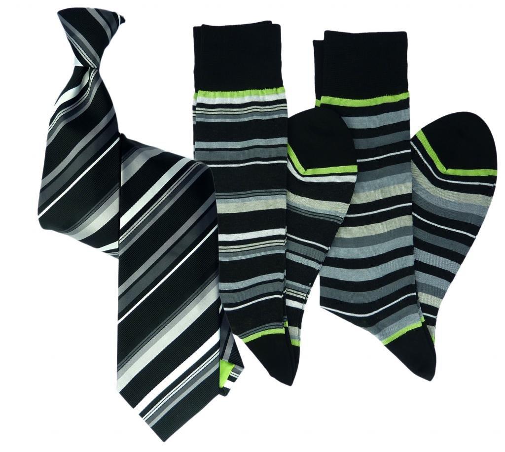 Stanley Lewis Men's Sovereign Stripe Tie & Sock Set Black