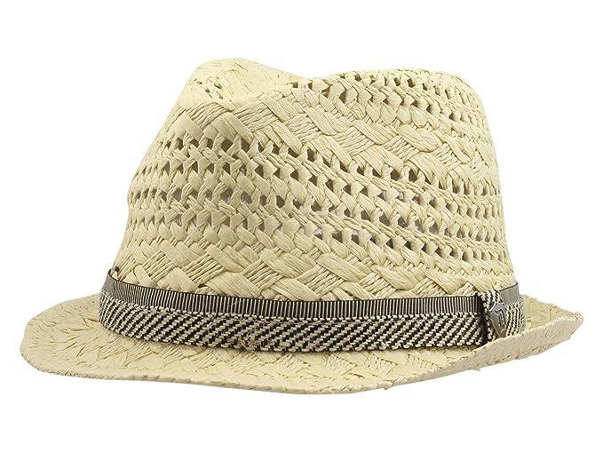 d31c5823c80 Dorfman Pacific Men s Fancy Weave Natural Toyo Fedora Hat Sz  S M at Amazon  Men s Clothing store