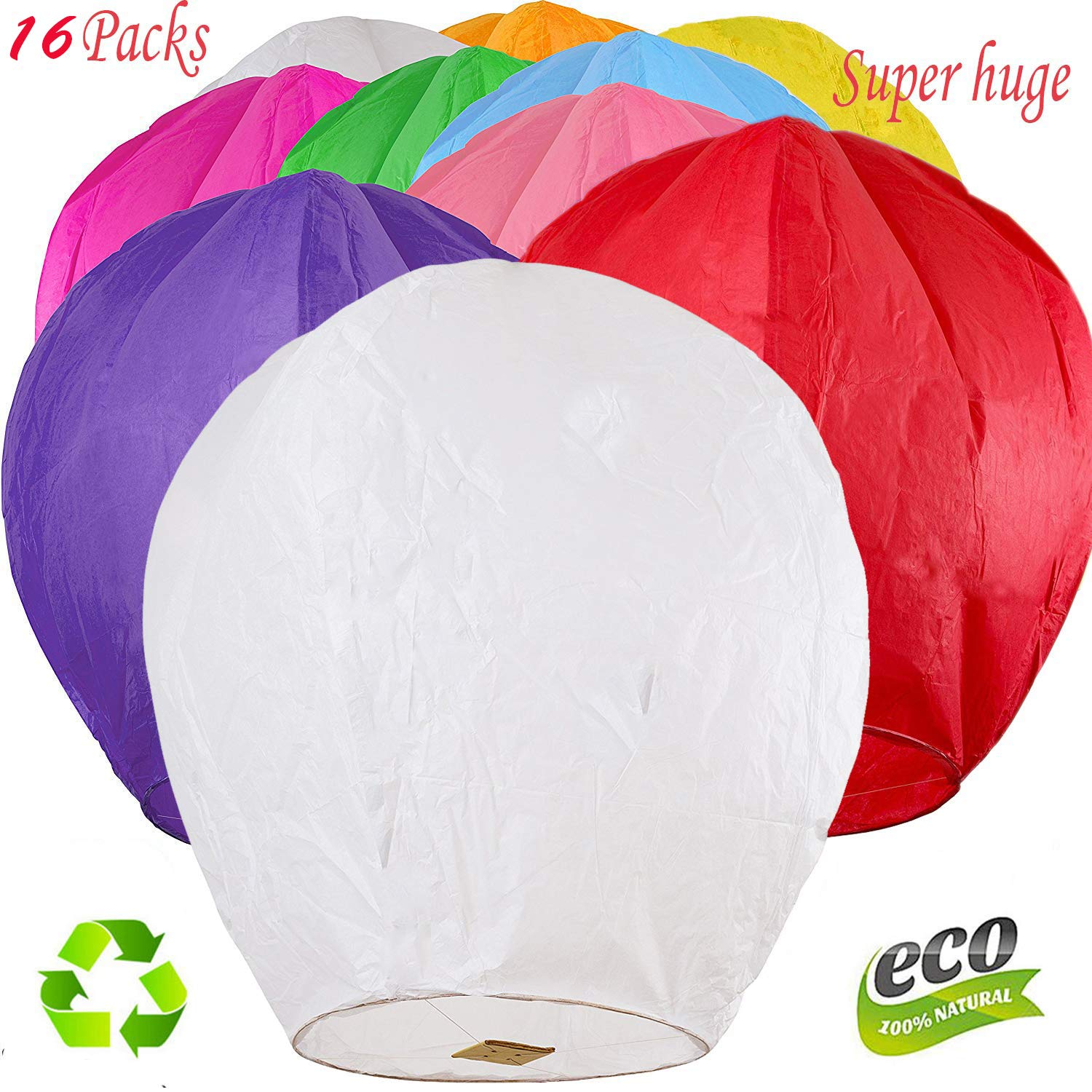 Nuluphu 100% ECO Biodegradable Flying Chinese Sky Lanterns, No Assembly Required(no Metal Wires) Mix Wish Lights (Pack of 16) (Huge) by Nuluphu