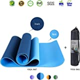 "iEase Fitness/Pilates/Yoga Mat Non Slip High Density Anti-Tear Anti Slip Eco-friendly SGS Certified TPE Exercise Yoga Mat 72"" X 24"",Thickness 1/4 inch"