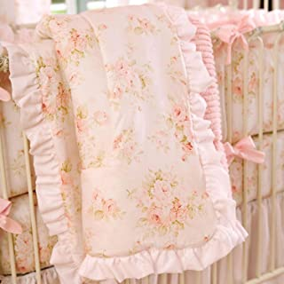 product image for Carousel Designs Baby Pink Chenille Crib Comforter with Ruffle