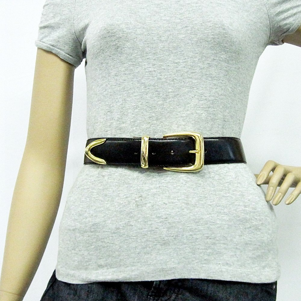 1 1//2 Mens Rounded Square Gold Buckle on Quality Black Leatherette Belt Strap