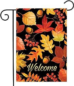 "Briarwood Lane Fall Leaves Welcome Garden Flag Autumn Acorns 12.5"" x 18"""