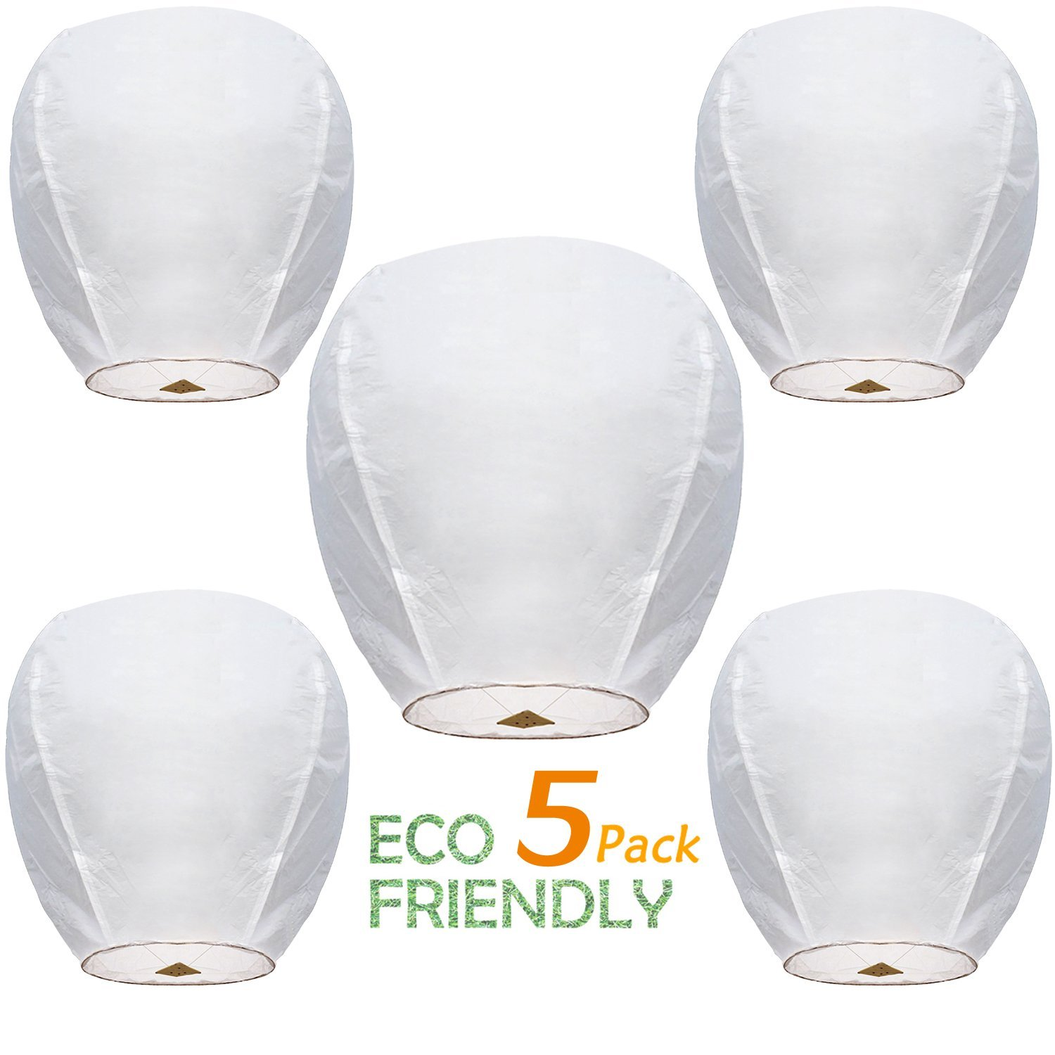 Chinese Sky Lanterns ECO Wire-Free Flying Chinese Sky Lanterns (5 Pack) - 100% Biodegradable, Environmentally Friendly Lanterns!