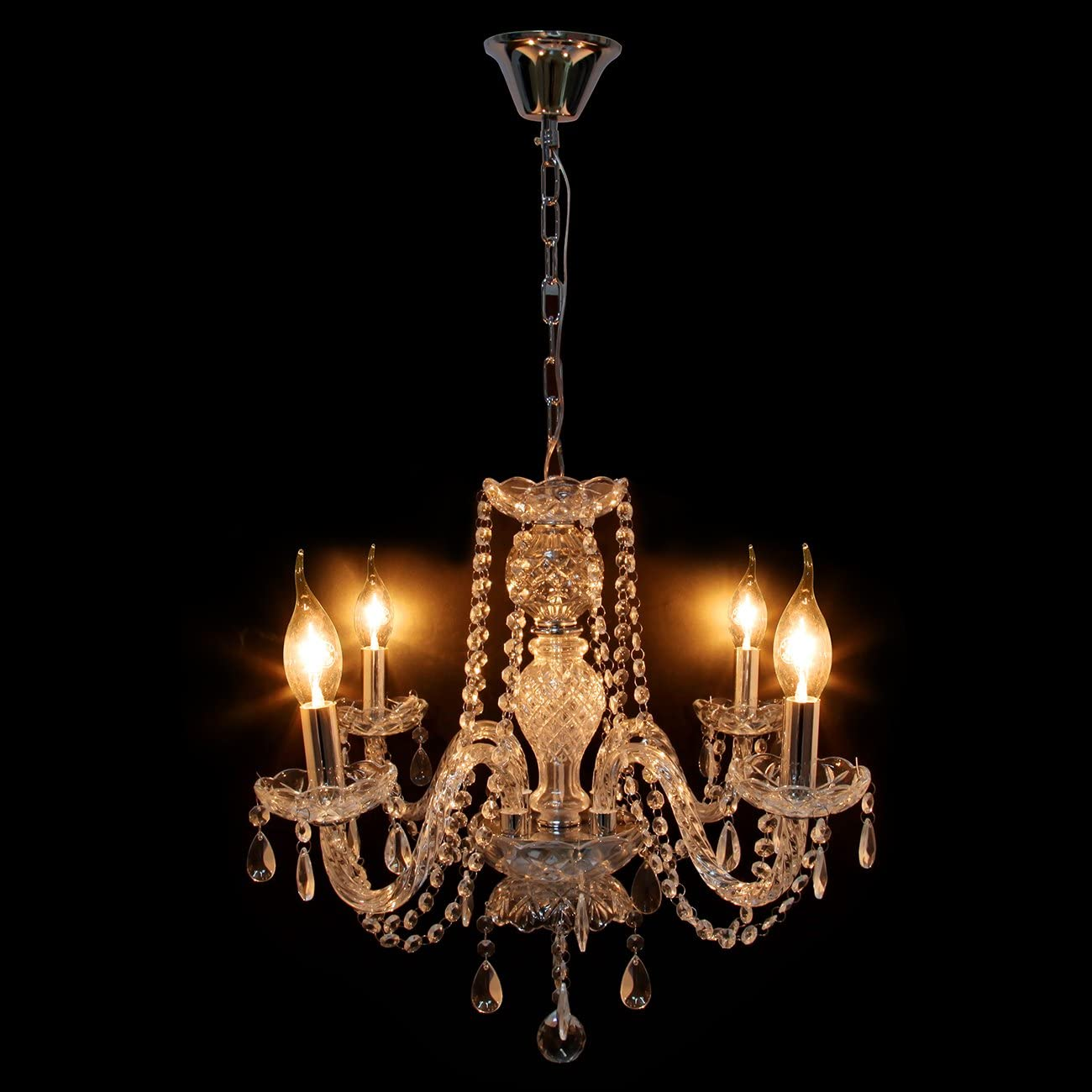 TryE Luxurious 4 Arm Chandelier K5 Crystal Glass Ceiling Light E12 Pendant Lamp for Living Room Bedroom Hallway Entry