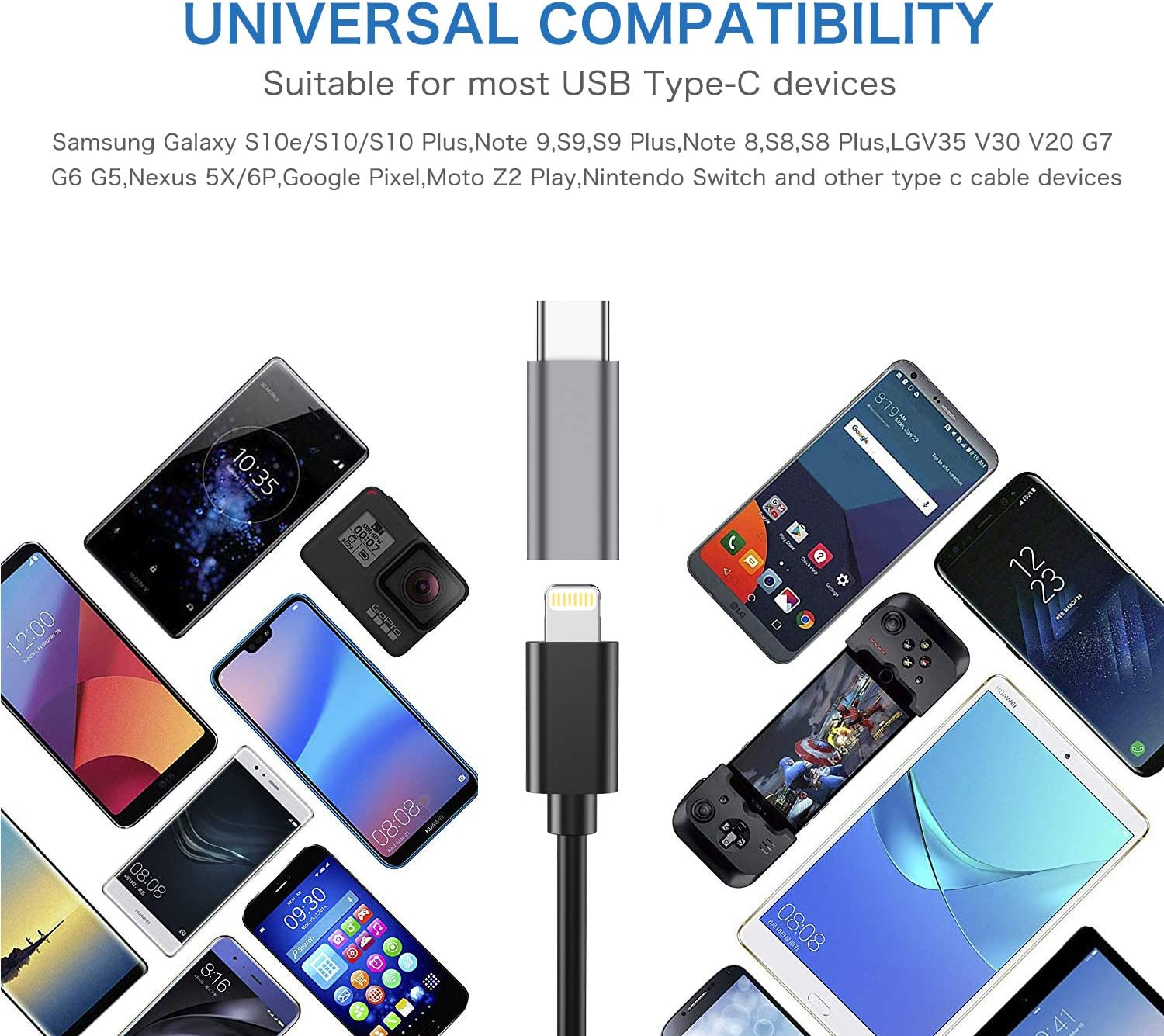 2-Pack ,i OS Lighting Cable Gray to USB Type C - Charging Adapter Compatible with Galaxy S20 S10 S9 S8 Plus,Note 9 8 10,Google Pixel 4 3 2 XL and More Female USB-C Adapter Male