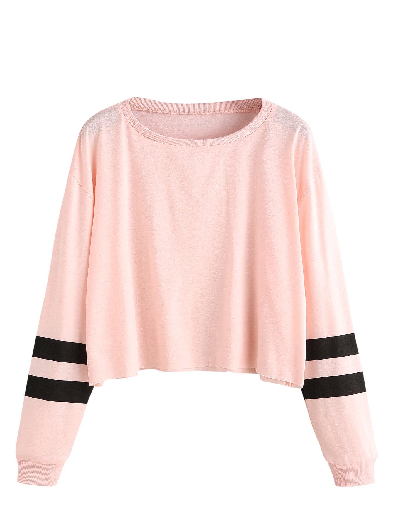 SweatyRocks Women's Striped Long Sleeve Crewneck Crop Top Sweatshirt Pink L