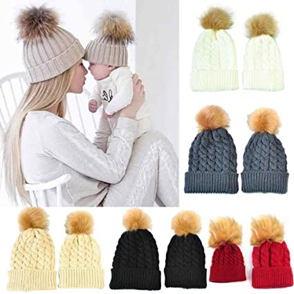 e3d53b5318c GBSELL Fur Ball Hat Mom And Baby Winter Knitting Keep Warm Hat Cap with Pom  Pom