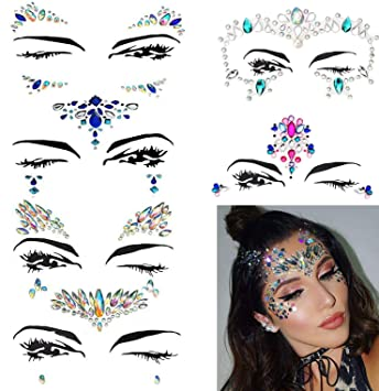cf5da0c9a Amazon.com : 6 Sets Face Jewels Stickers, Minggo Festival Face Gems Glitter  Temporary Tattoos Mermaid Eyes Face Body Crystals Face Stickers for Women  ...