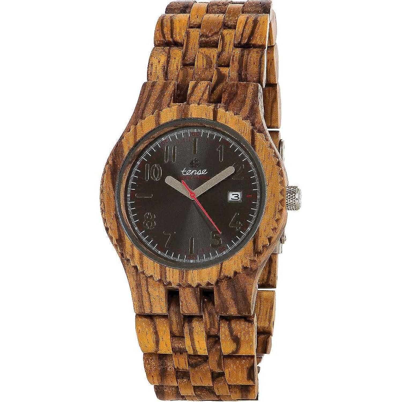Gespannter Discovery Yukon Jumbo rund recyceltem Zebrano Holz Armbanduhr j5200z DF