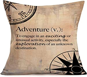 ShareJ Geography Theme Throw Pillow Covers Map Art Throw Pillow Cases Inspirational Quotes Couch Covers 18 X 18 Inch for Home Sofa Bedding Decoration Cotton Linen Cushion Cover (Geography Theme 06)