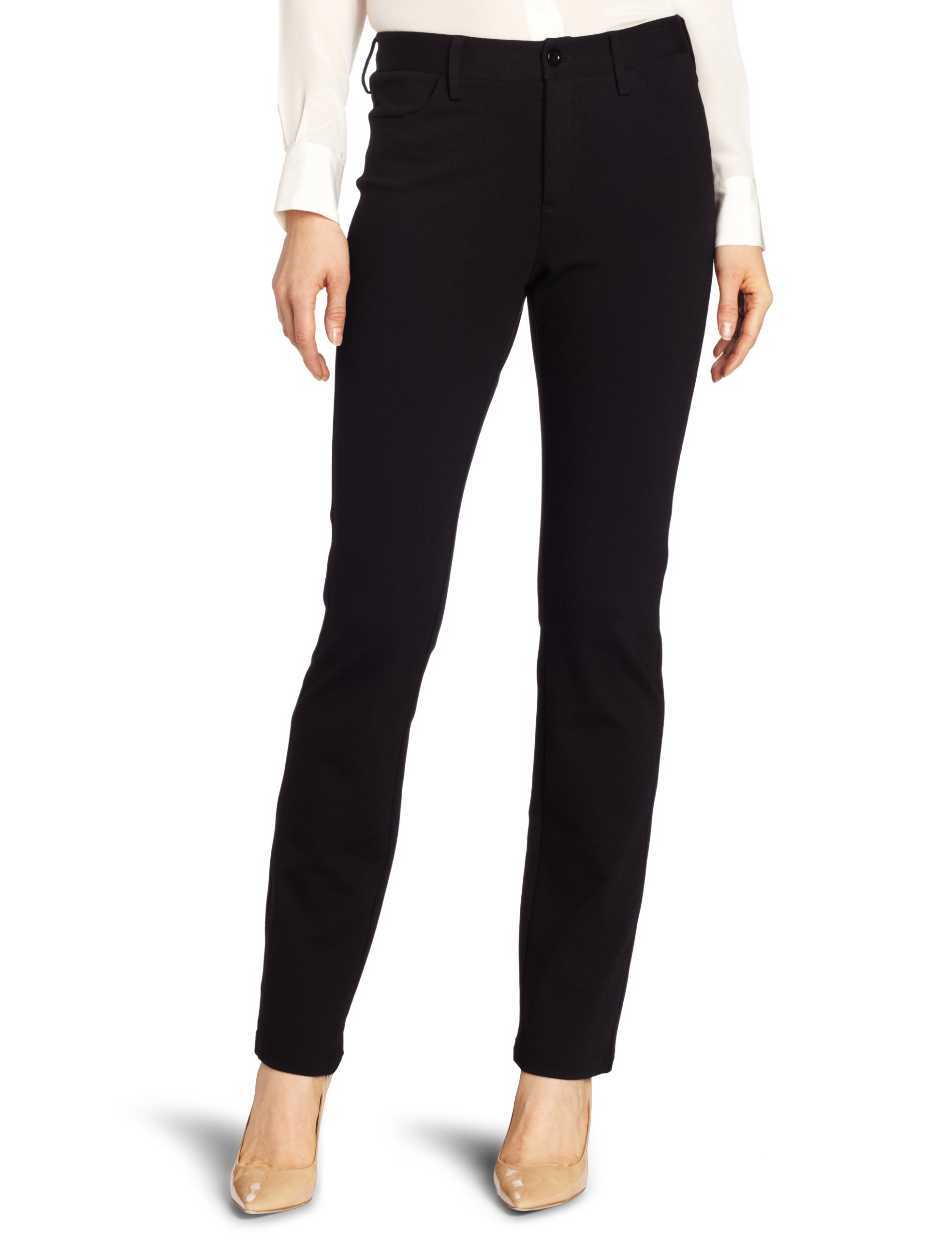 NYDJ Women's Samantha Slim Ponte Pant, Black, 14