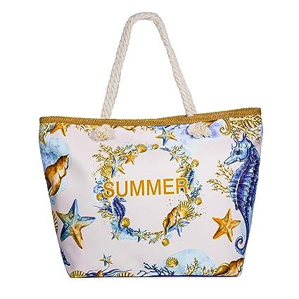 Comius Bandolera Verano Mujer 2019, PU Bolsa de Playa Grande con Cremallera, Bolso de Mujer Shopper Bolsa Totalizadores del Recorrido (55 x 39 x 11cm) ...
