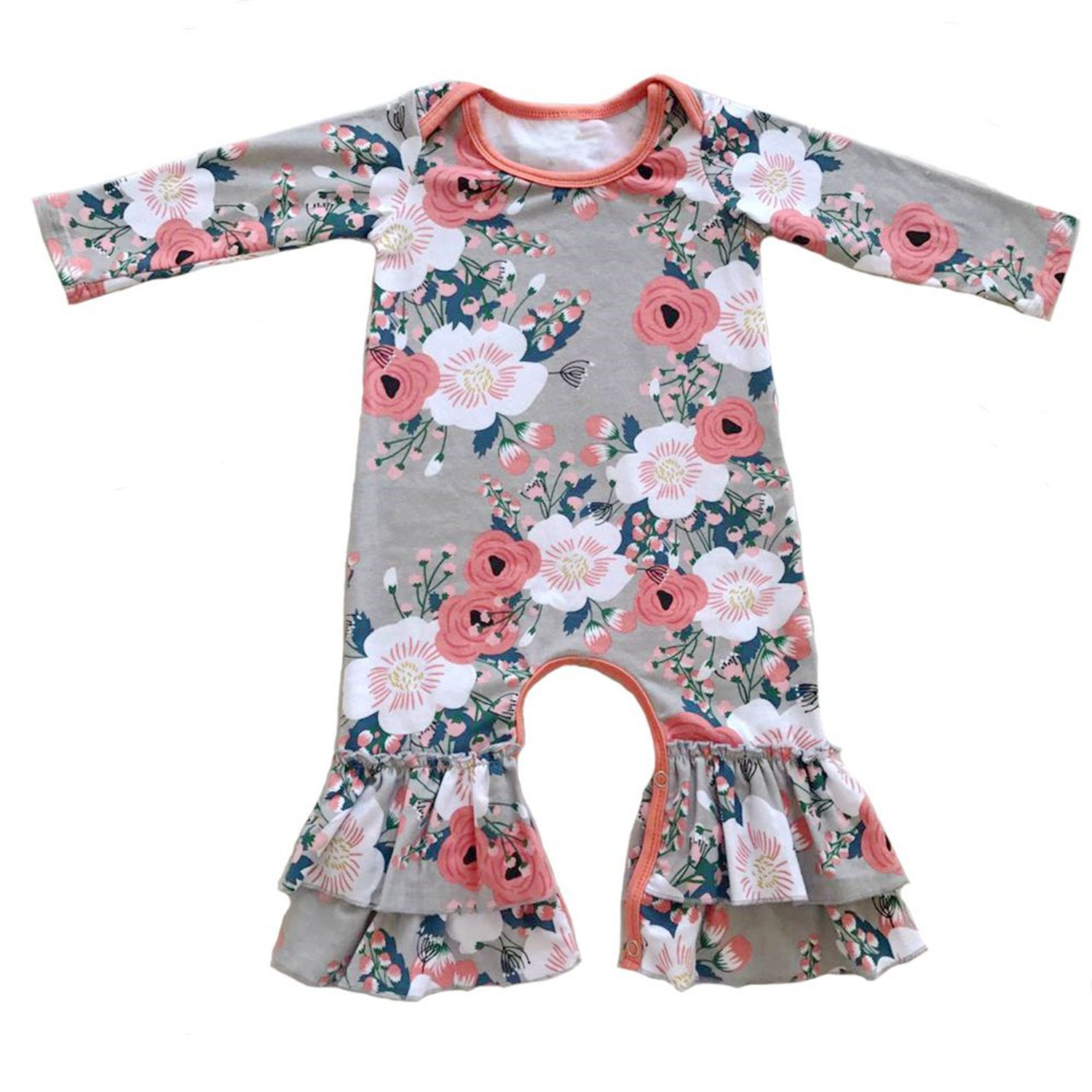 09aa6a469194 Amazon.com  Evan Fordd Baby Girls Ruffled Romper Baby Girls Thanksgiving  Leg Romper Ruffle Pants  Clothing