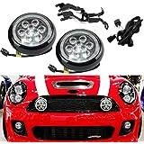 NSLUMO - Juego de 2 luces LED de circulación diurna para conducción, con anillo de halo y ojos de ángel, carcasa negra,…