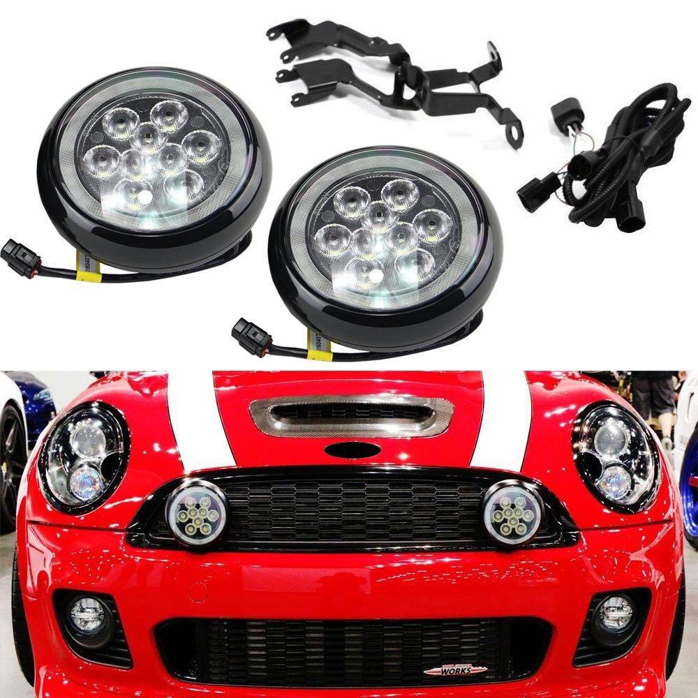 Nslumo 2/pcs//lot LED Rally lumi/ère de conduite avec Angel Eyes Halo Anneau DRL Noir Coque Kits de lumi/ère du jour