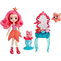 Enchantimals Coffret Coiffeuse, Mini-poupée Starling Étoile de Mer et Figurines Animales Idyl et Rypple avec accessoires de beauté, jouet enfant, FKV59