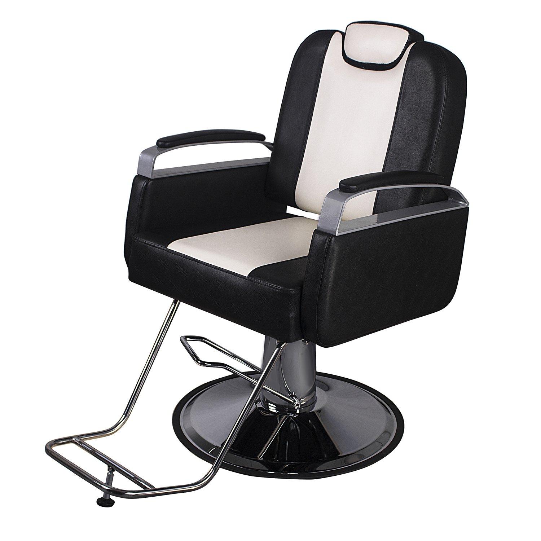 Amazon.com: Walcut Classic Reclining Hydraulic Barber Chair Styling Hair Chair  Beauty Salon Spa Shampoo Equipment Black U0026 Beige: Beauty