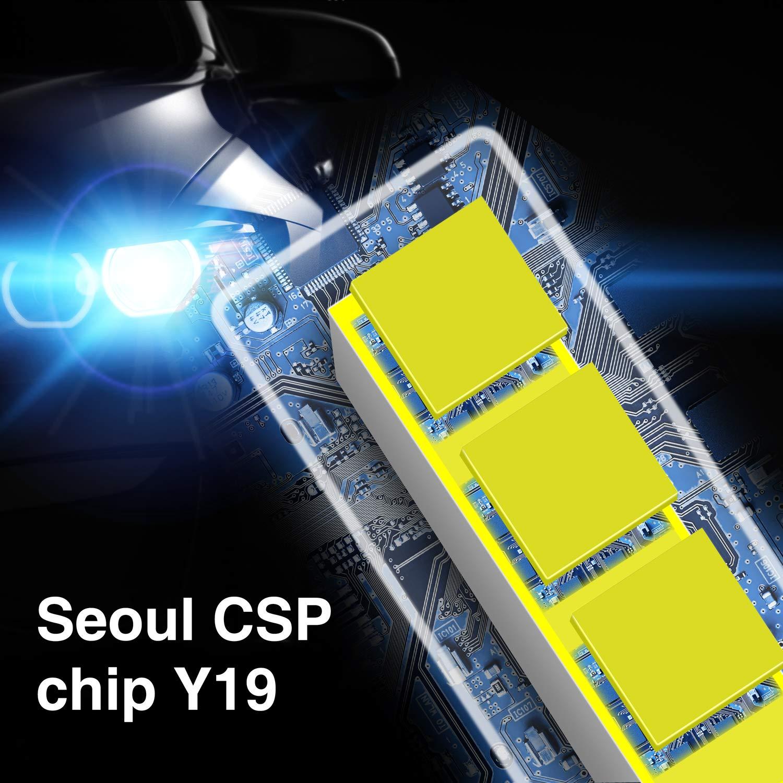 GSSUSA H11 LED Headlight Bulbs H11/H8/H9 LED Headlight Bulbs Conversion Kit LED Light Bulb with Cooling Fan,9000LM 6500K Xenon White, Low Beam/Fog Light Bulb,Pack of 2