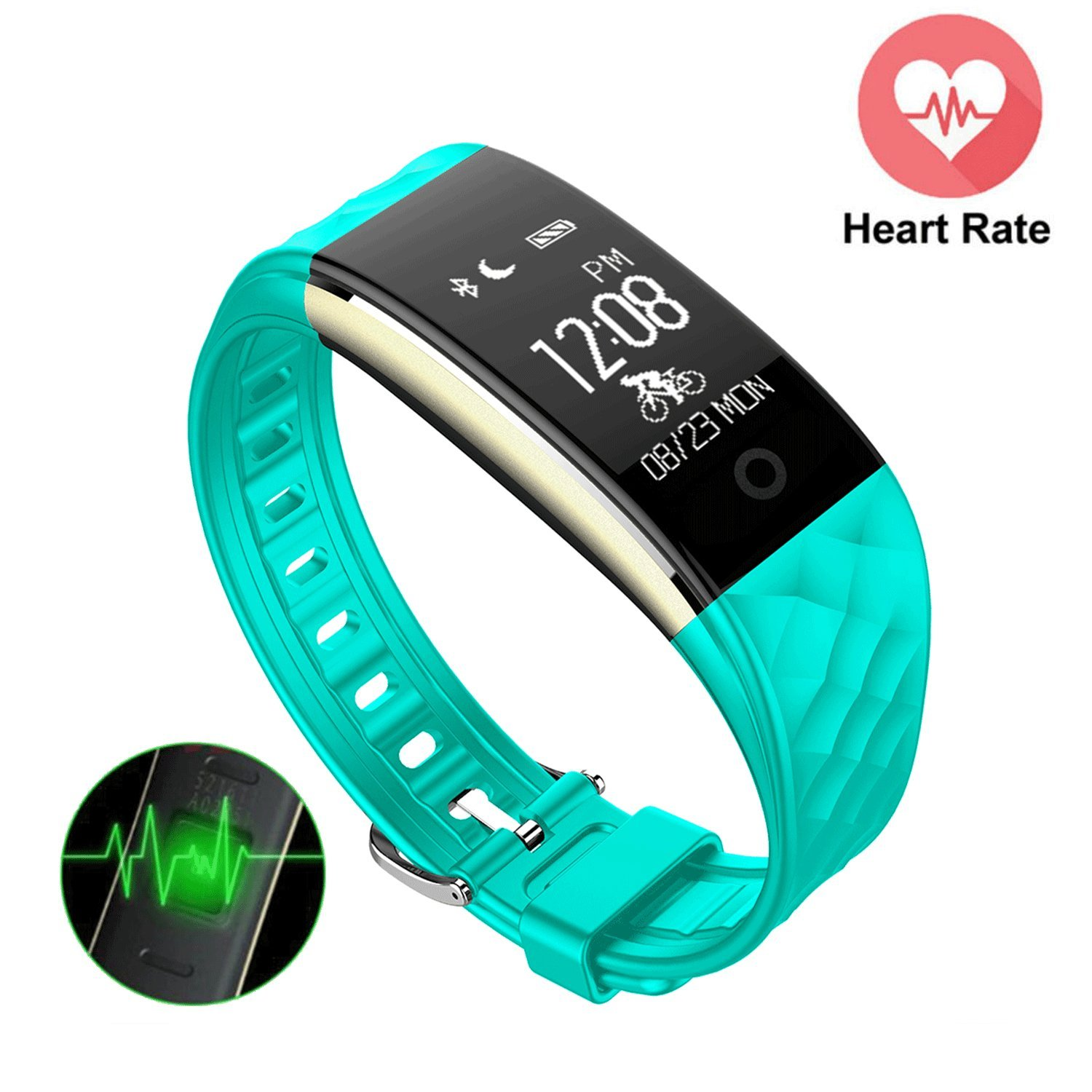 Mini Kitty S2 Fitness Tracker Heart Rate Monitor Upgrade Version Smart Wristband IP67 Waterproof Swimming,GPS Bicycling Tracker Smart Bracelet For Android IOS Phone, IPad (Green)