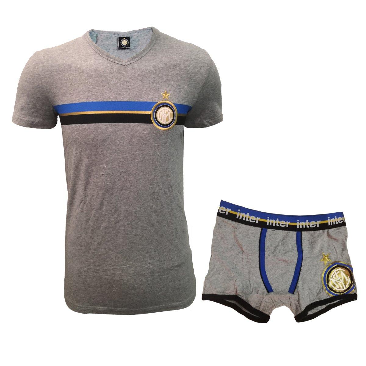 coordinato uomo boxer + t-shirt scollo a V cotone elasticizzato INTER prodotto ufficiale art. IN14004