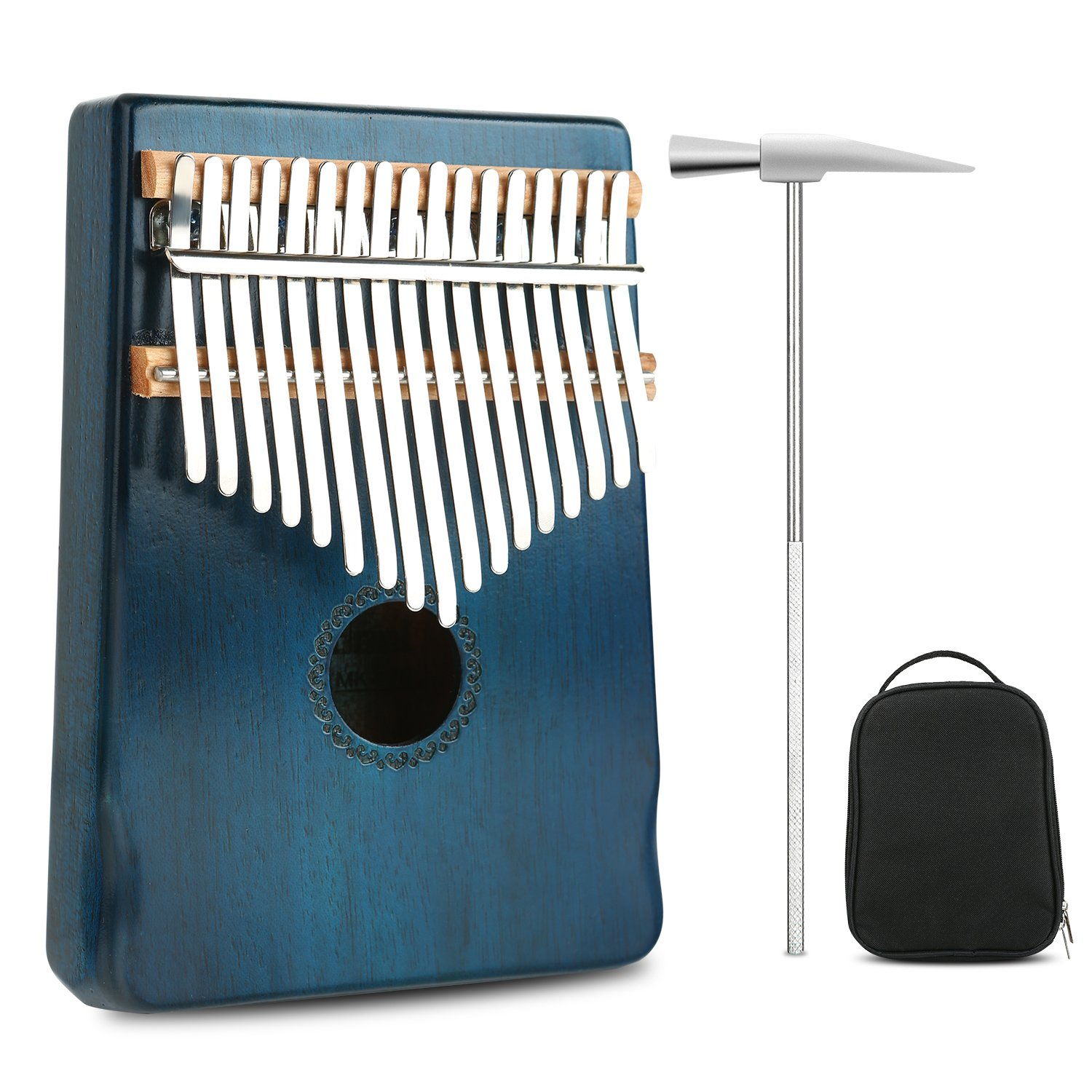 Kalimba Thumb Piano Professional Series 17 Keys Instrument Kits Finger Piano Mbira Likembe Sanza Music Gift Mahogany Wood with Protable Portection Bag Blue Meideal