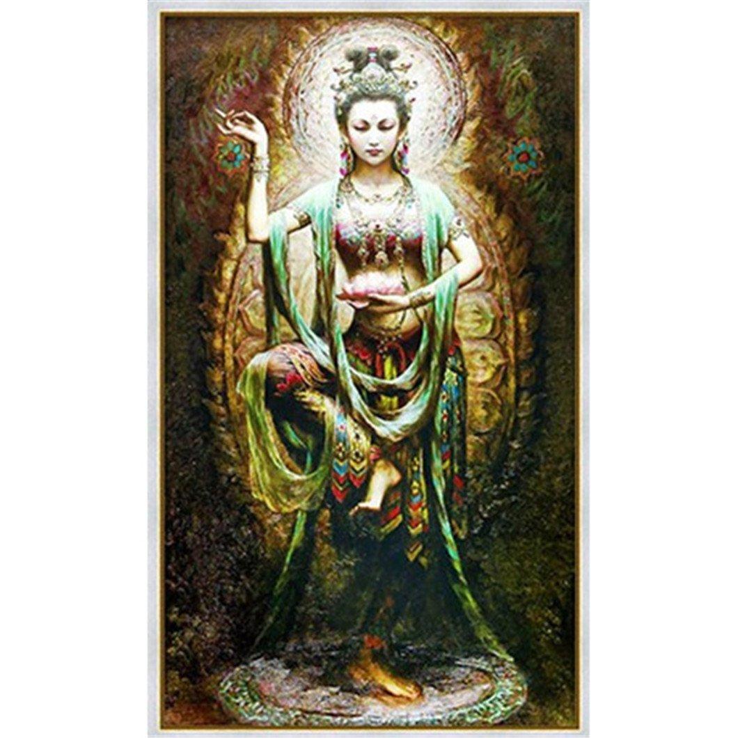 Mazixun Diamond Embroidery Buddhism Goddess 5D Diamond Painting Cross Stitch 3D Diamond Mosaic Decoration Christmas