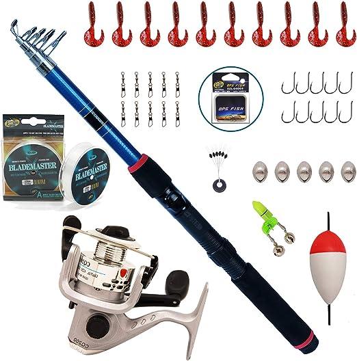 BPS Kit Combo de Pesca Incluye Caña de Pescar Spinning Telescópica ...