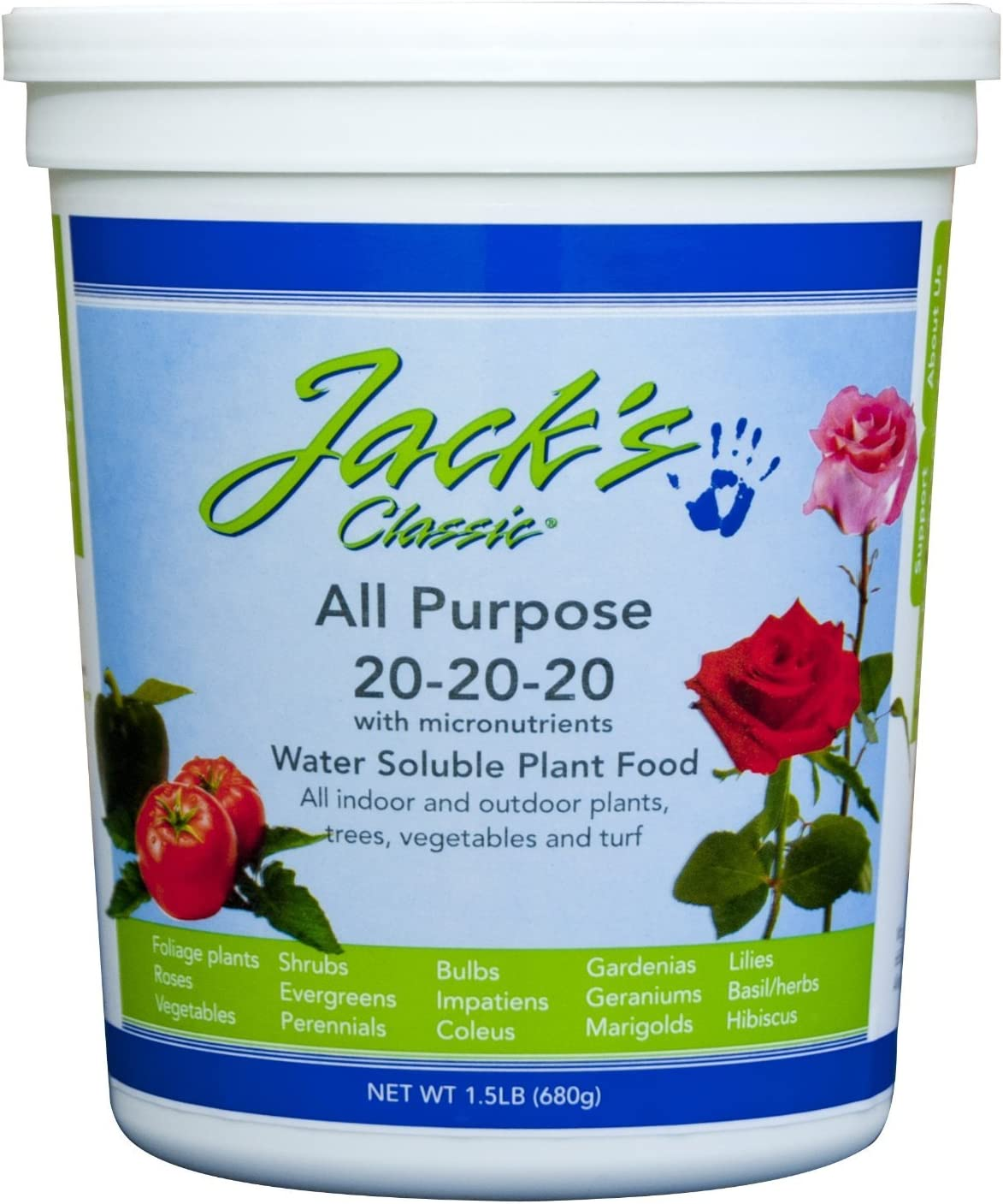 The Dirty Gardener Jack's Classic All Purpose 20-20-20 Water Soluble Plant Food - 1.5 Pounds