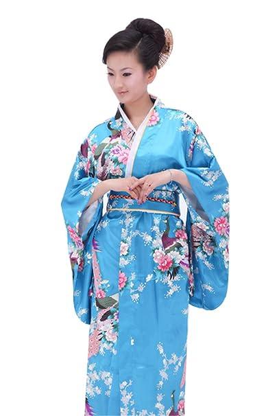 Vintage Retro lujoso traje traje de Cosplay kimono yukata japonés haori - vestido Azul