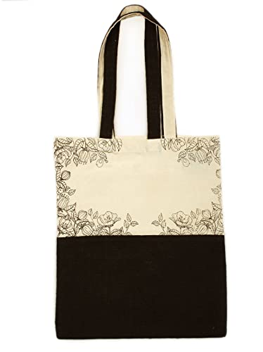 f810584f50 Earthworks Women Printed 100% Ecofriendly Jute   Canvas Tote-Black ...