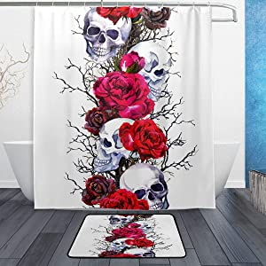 Human Skulls with Rose Flowers and Branches Shower Curtain and Rug Set Water Resistant Polyester Fabric Long Curtain Mat Set with 12 Hooks 60x72 inch Bathroom Decor Accessories Set of 2