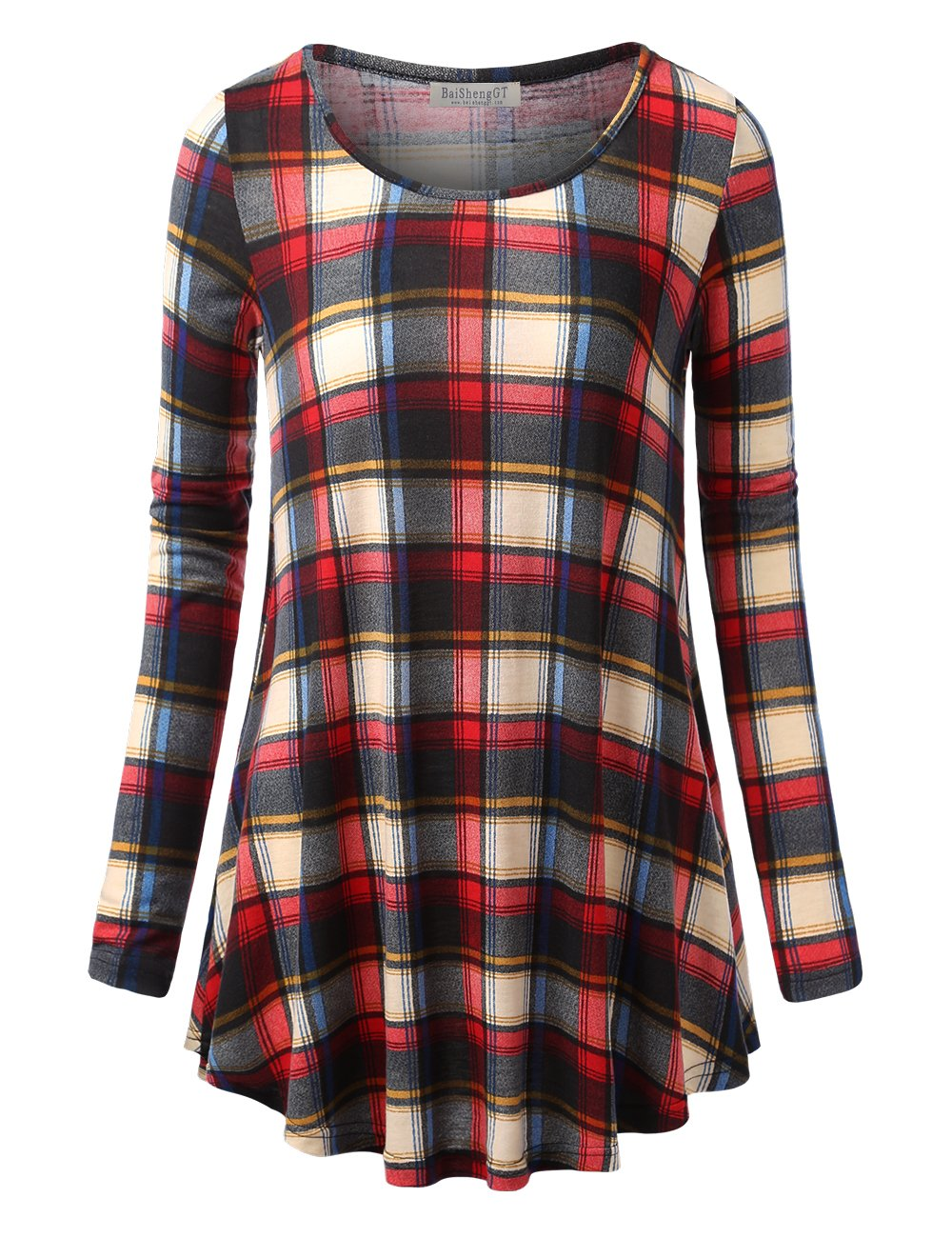 BaiShengGT Women's Round Neck Printed Loose Fit Casual Blouse Top Tunic Shirt Red #1 XXL