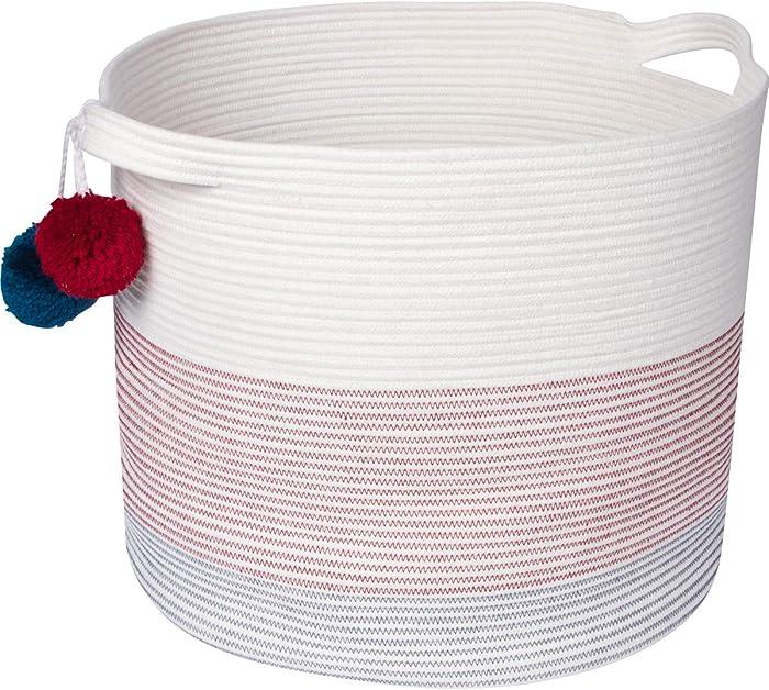 "Sweetzer & Orange Extra Large Woven Cotton Rope Storage Basket with Pom-Poms – 15""x20"" - Blanket Storage Baskets, Laundry and Toy Storage, Nursery Hamper – Off White/Navy/Rhubarb XXL for Living Room"