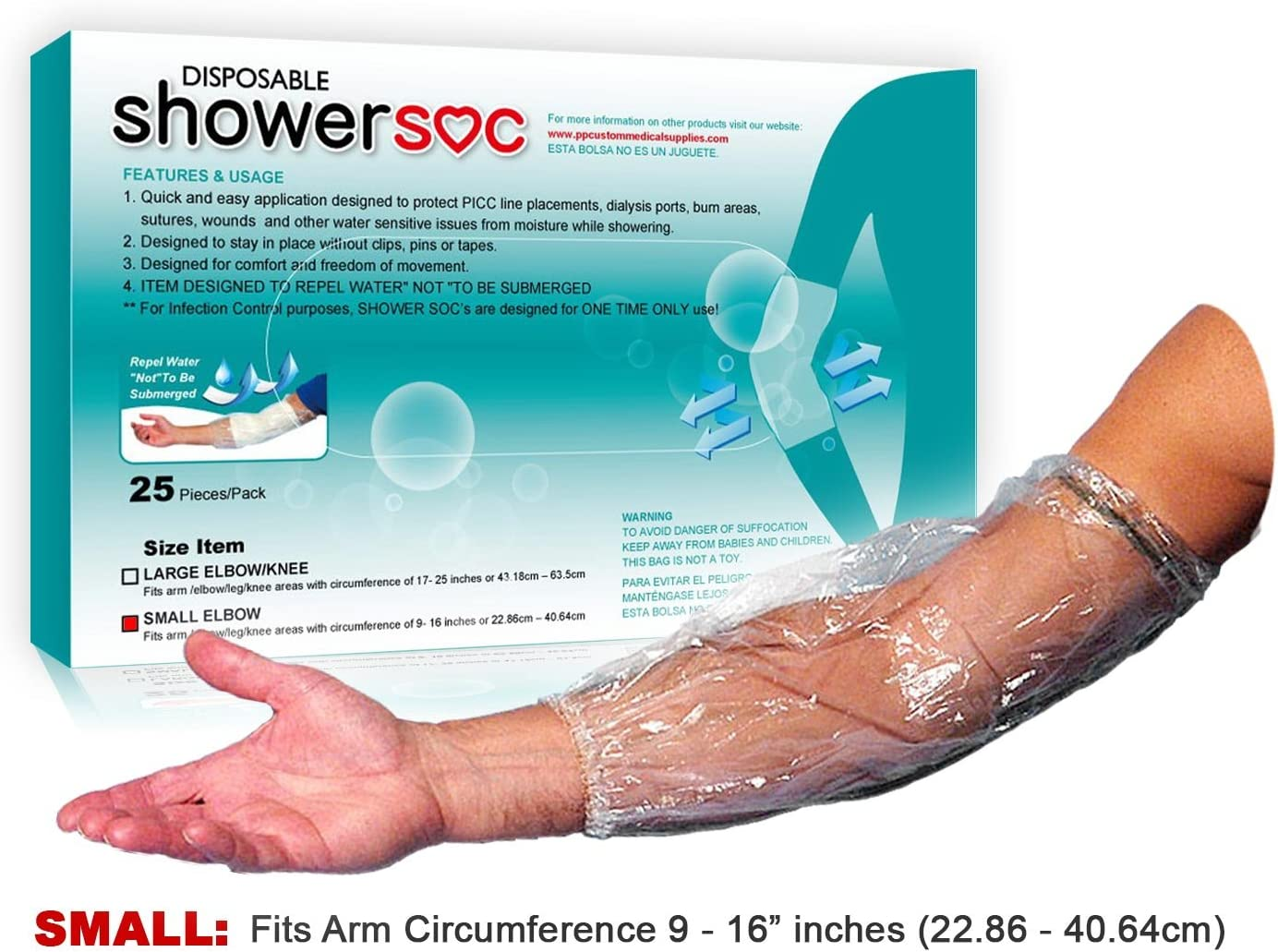 """Picc Line Shower Sleeve - 25 Pack - Small - Elbow,Knee - Protector Sleeve Guard, Disposable Barrier - Fits Bicep-Knee-Arm 9"""" - 16"""" - for Chemo Infusion Sites and Tattoos"""