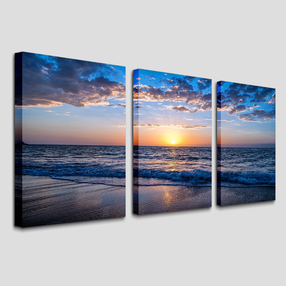 Hyidecor Art 3 Piece Canvas Wall Art -Sunrise blue sea view Landscape - Modern Home Decor Room Stretched and Framed Ready to Hang - 12''x16''x3 Panels