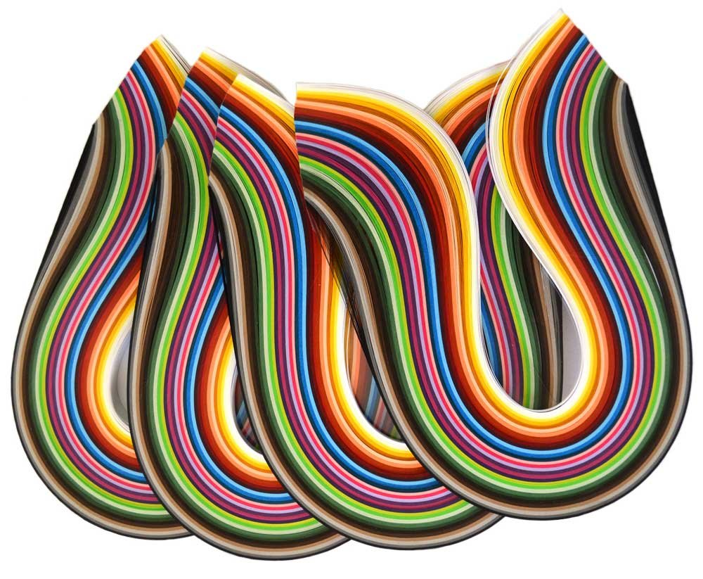 Shilpi Quilling Paper Strips, 1200 Strips, 30 Colors, Width-3/5/7/10mm, Length-43cm, Pack of 4 Sets Vision