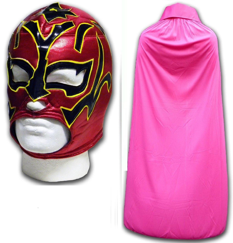 Estrella Fugaz morphsuit adultos máscara DE LUCHA LIBRE MEXICANA w/capa rosa: Amazon.es: Deportes y aire libre
