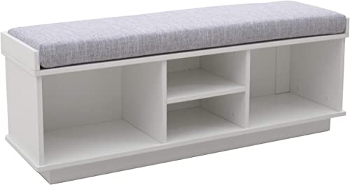 Amazon Brand Ravenna Home Upholstered Entryway Cushioned Storage Bench – 47 1 4-Inch, White
