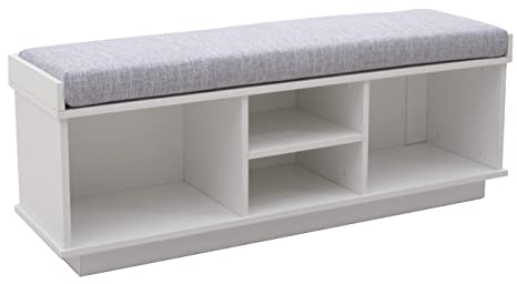 Ravenna Home Reeder Upholstered Entryway Cushioned Storage Bench, 47.2\