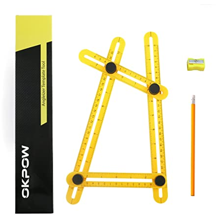 okpow angleizer template tool measures all angles and forms angle template tool for builders craftsmen handymen