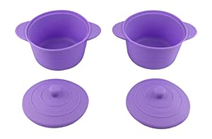 Bakerpan Silicone Small Round Pot, Steamer Cooker with Lid 4 Inches, Set of 2