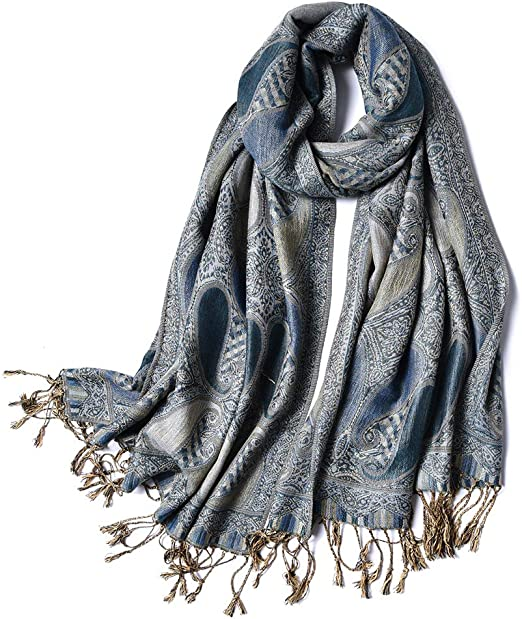 WOMEN BLACK PAISLEY RETRO PRINTED LONG FAHSION SCARF,SHAWL,SHOULDER WRAP,STOLE